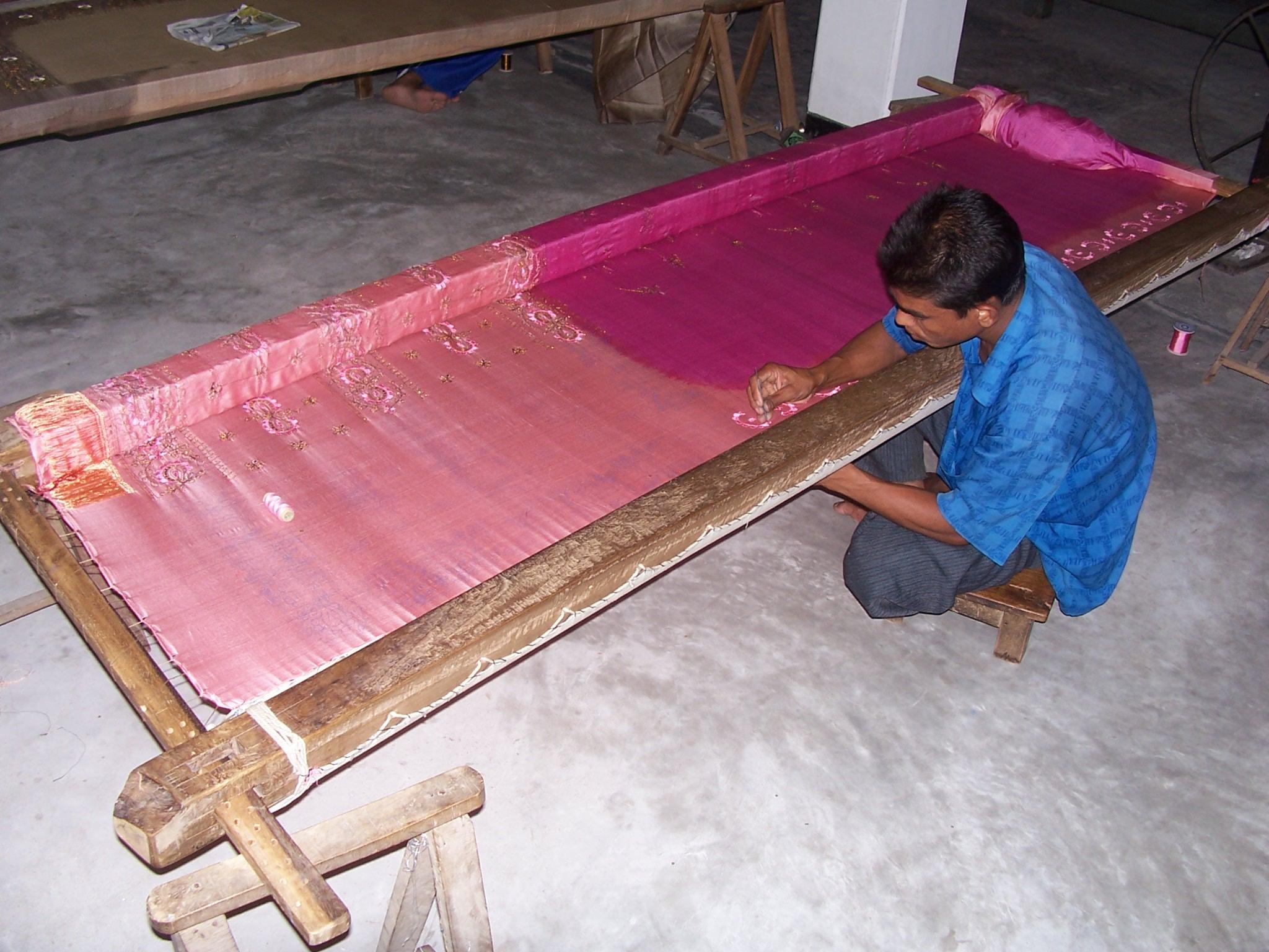 A man working on a silk loom