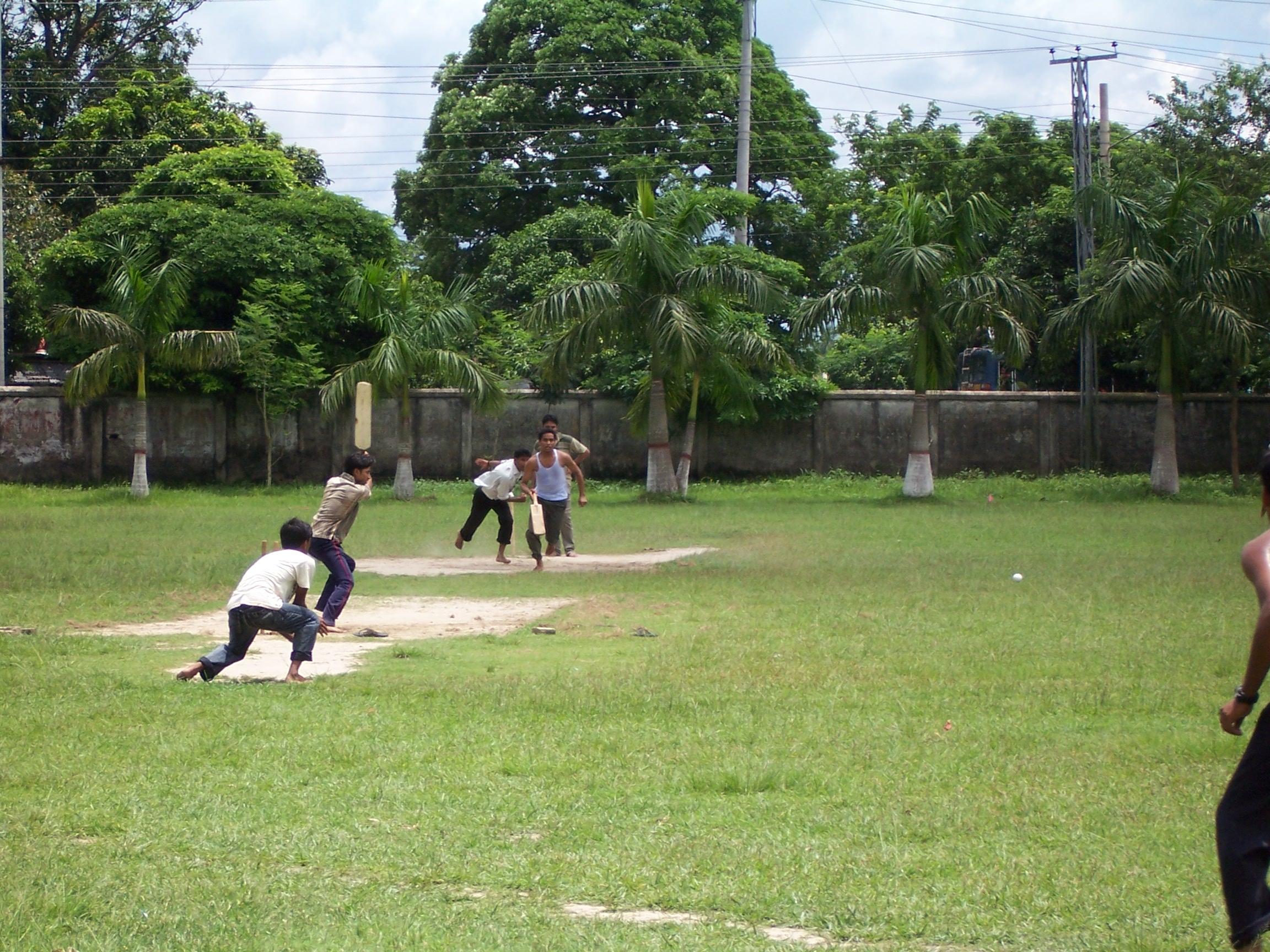 Men playing cricket