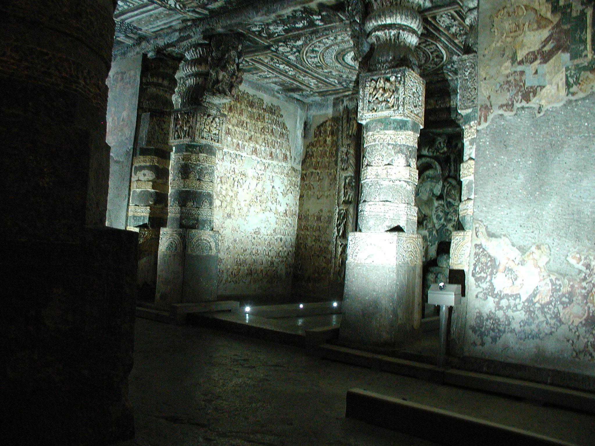 Architectural columns in Ajunta Caves
