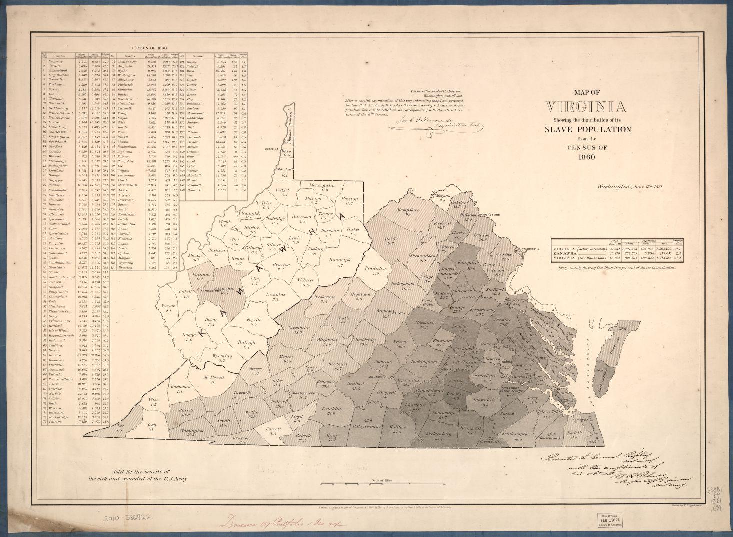 LOC Virginia Slave Census Map