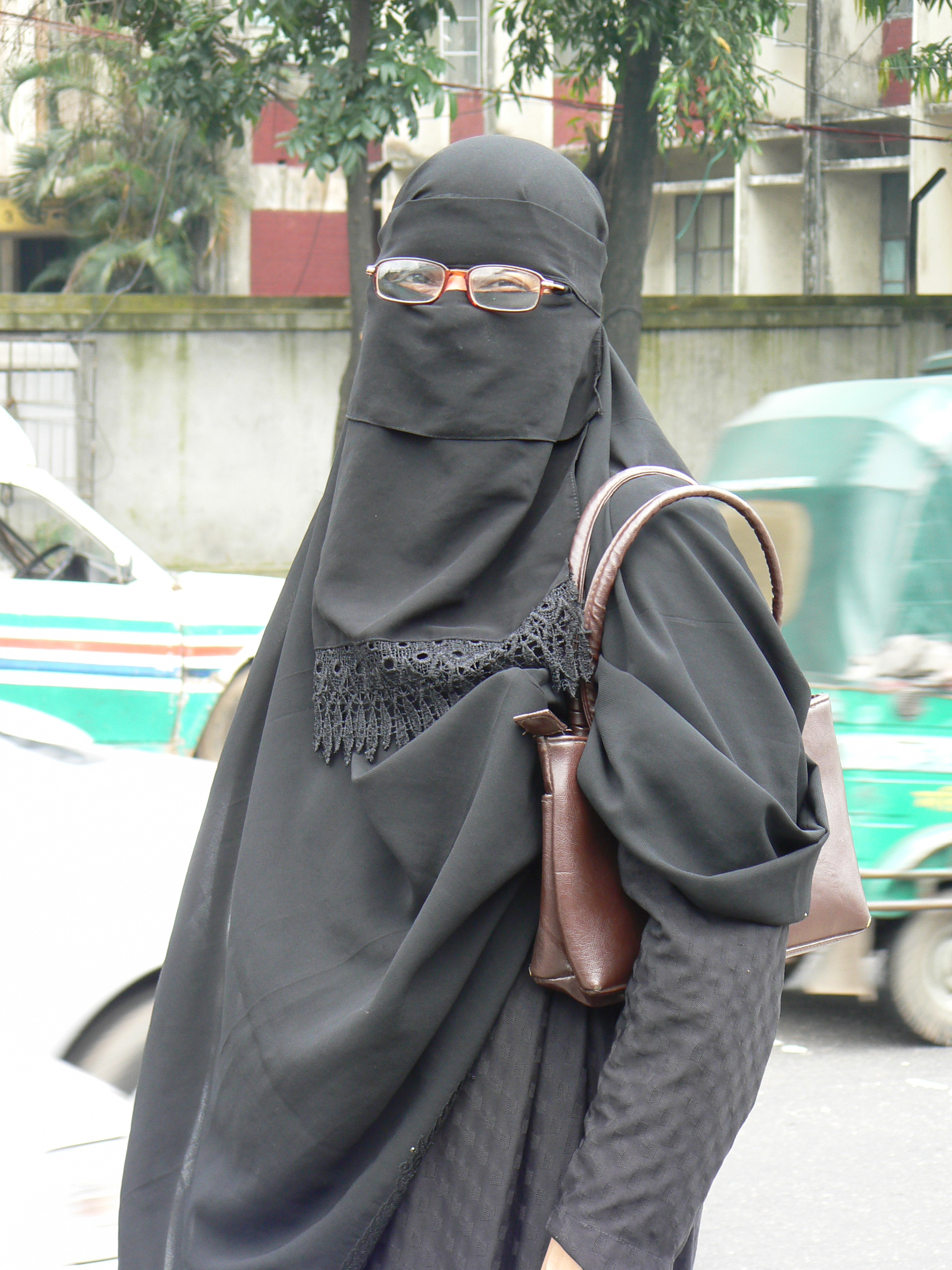 A fully-covered woman out in public