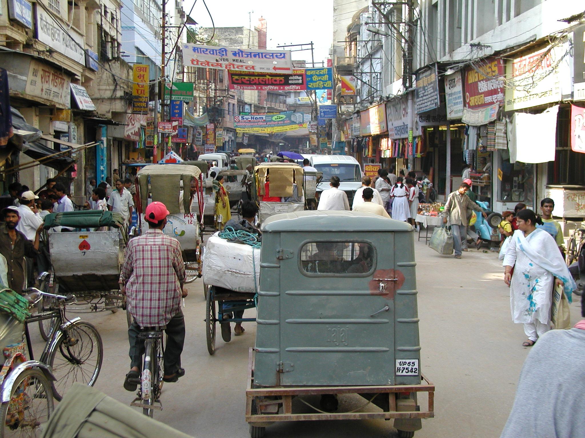 A busy street in Varanasi